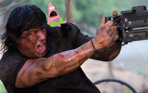 Patricio con Rambo