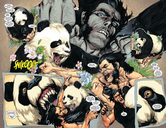 ¿Y porqué da de ostias Logan a un oso panda?. Os leéis el cómic y lo sabréis...