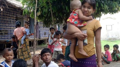 People in Myanmar's Rakhine State fleeing fighting between the military and the Arakan Army.