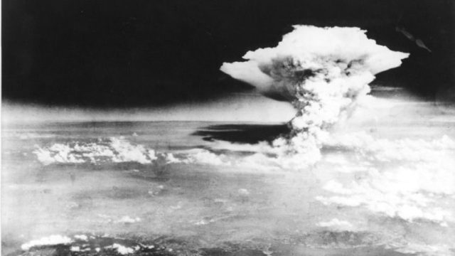 The mushroom cloud on Hiroshima, Japan, after the dropping of the atomic bomb on Aug. 6, 1945.