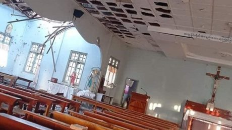 The Sacred Heart Church in Kayanthayar, following a military attack on May 24, 2021