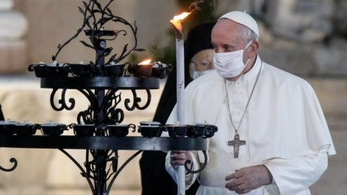 Pope Francis at a peace ceremony in Rome on Oct. 20, 2020