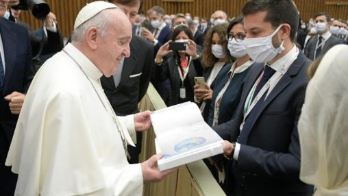 Pope Francis greeting pilgrims present for the Wednesday General Audience