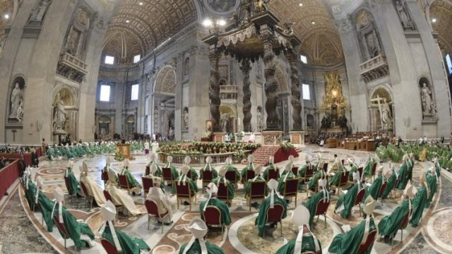 Pope Francis celebrates Holy Mass in St Peter's Basilica to mark the beginning of the Synodal process