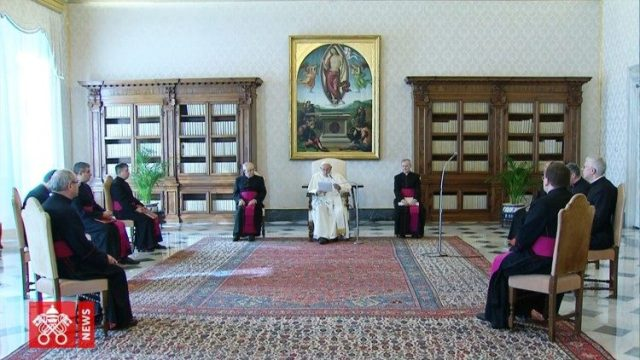 Pope Francis during the General Audience in the Vatican Library