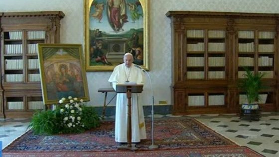 Pope Francis prays the Angelus in the Apostolic Library