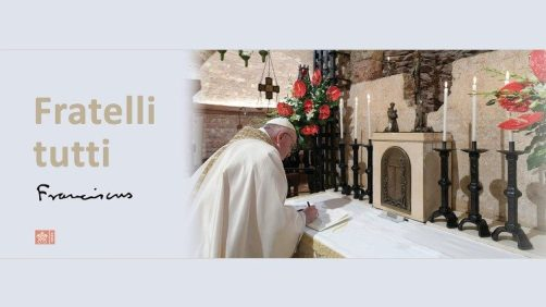 "Pope Francis signing ""Fratelli tutti"" Encyclical on the tomb of St. Francis of Assisi"