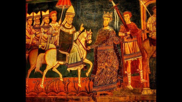 El Papa Silvestre entra a caballo a Roma, acompañado por el Emperador Constantino.