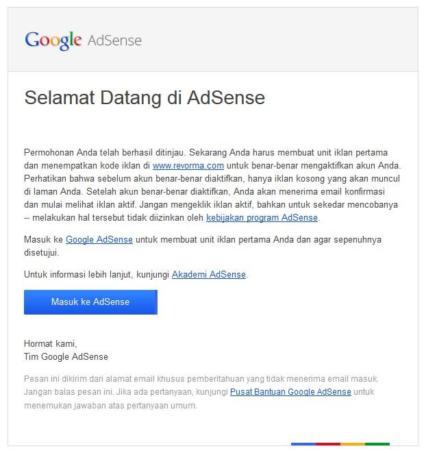 Adsense Diterima