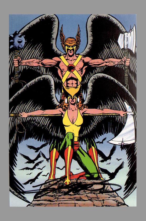 1984 George Prez Signed JLA Post Card  Hawkman