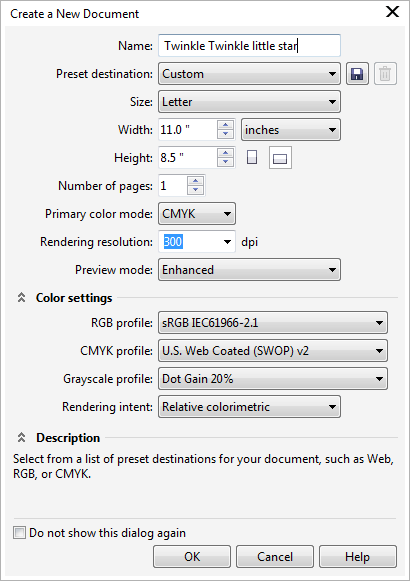 Create a New Document in Corel Draw