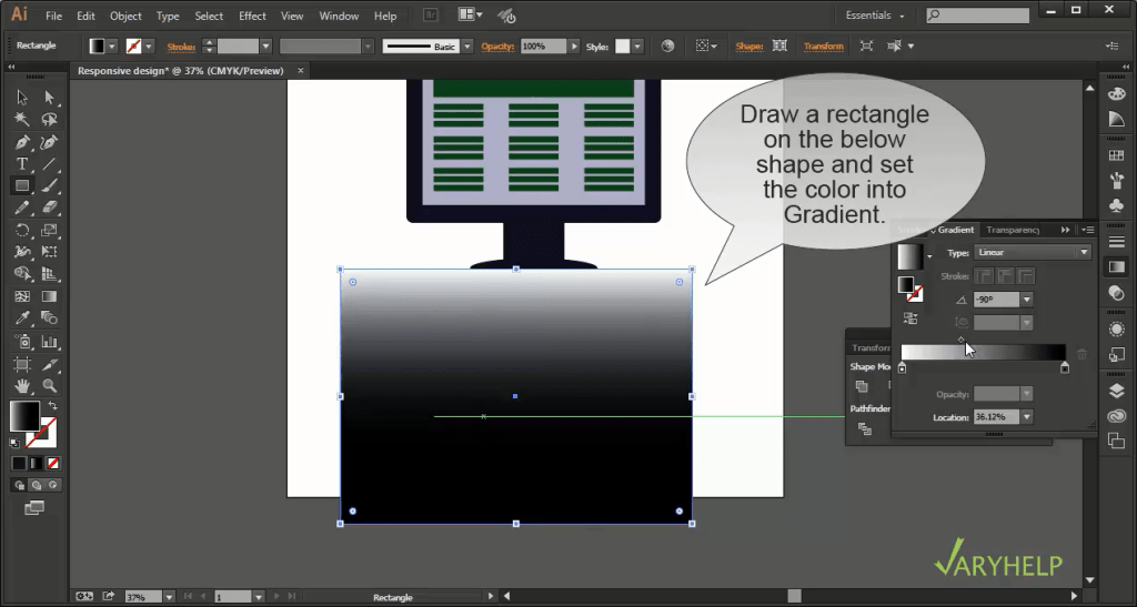 Cover the reflection using Gradient tool