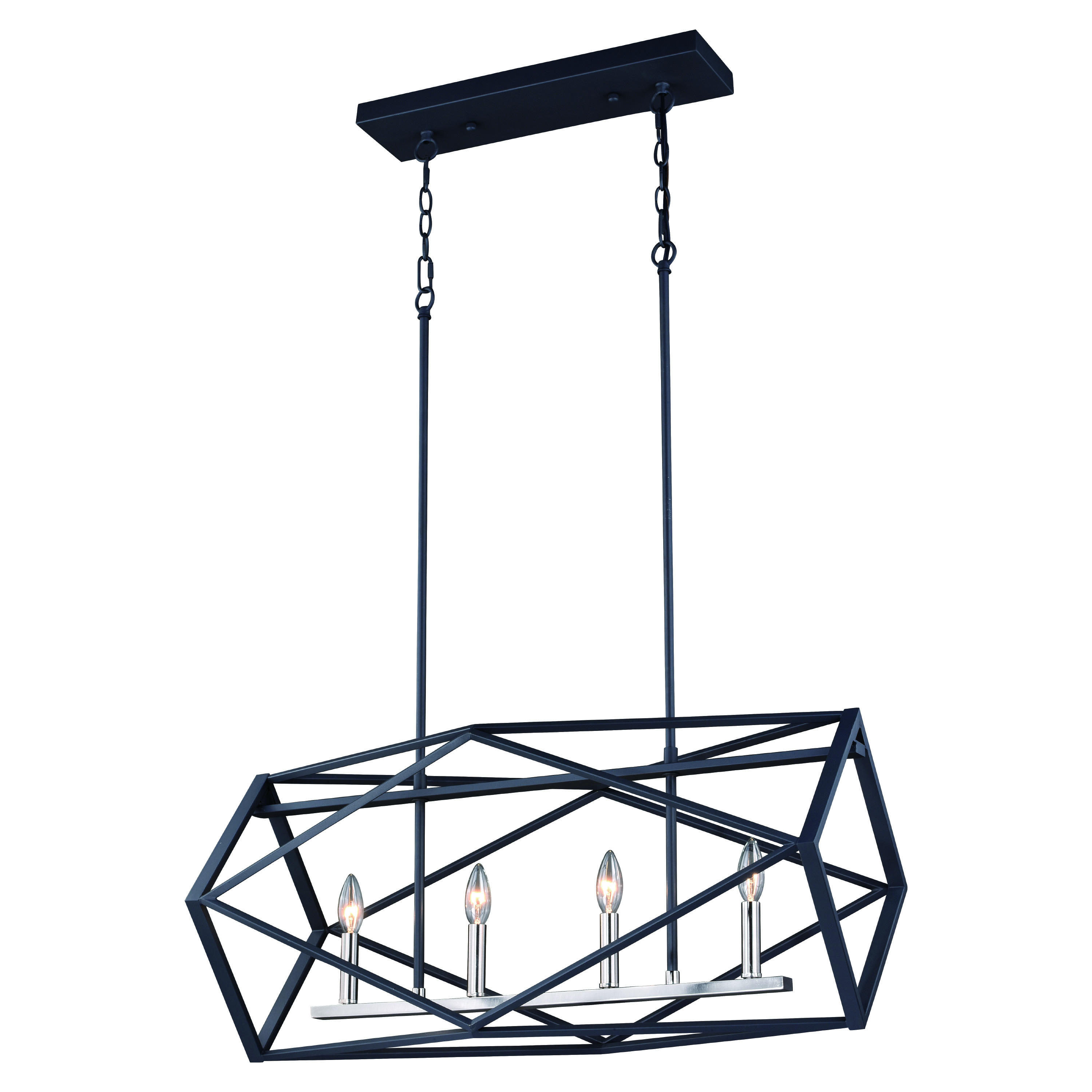 Hailey 4 Light Linear Chandelier Black Graphite And Satin