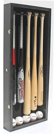 Lockable Baseball Display Case with Room for Five Bats
