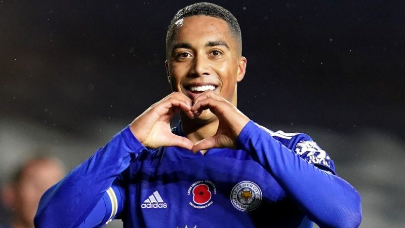 Youri Tielemans of Leicester City celebrates doubling their lead in the first half