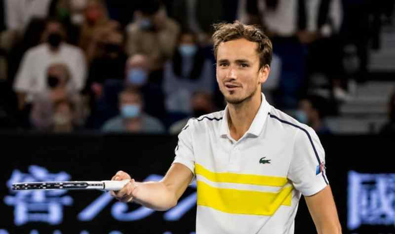 Daniil Medvedev of Russia in action during the Men's Singles Final of the 2021 Australian Open on February 21 2021, at Melbourne Park in Melbourne, Australia. (Photo by Jason Heidrich/Icon Sportswire via Getty Images)