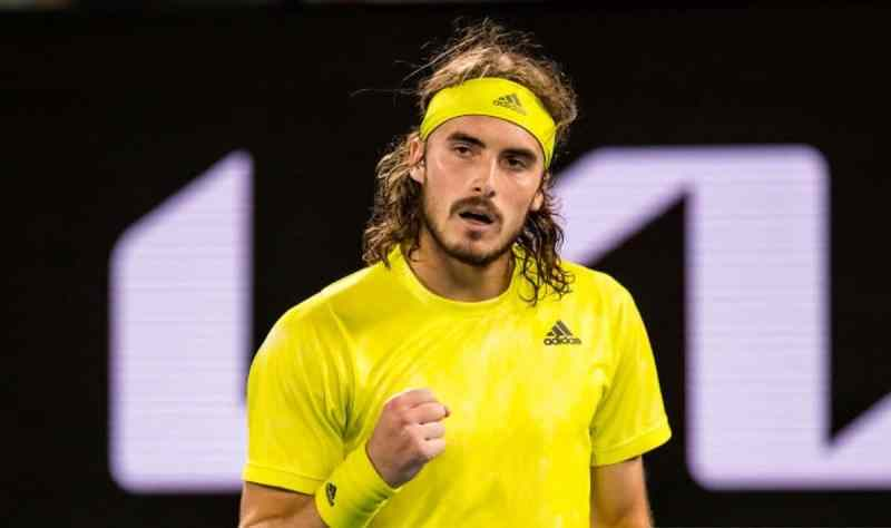 Stefanos Tsitsipas of Greece celebrates after winning a game during the semifinals of the 2021 Australian Open on February 19 2021, at Melbourne Park in Melbourne, Australia. (Photo by Jason Heidrich/Icon Sportswire via Getty Images)
