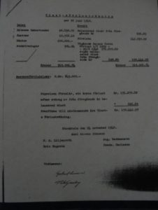 Fig. 2 Baltiska Oljeaktiebolag's account statement from November 1940, witnessed by Gertrud Larsson; Source: Patent - och Registreringsverket (PRV), Sweden