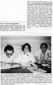 Auszug aus der Lokalzeitung von 1985 über die Tour de Suisse mit Start/Ziel in Jona