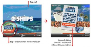 An example iRoll interactive pre-roll ad for Bud Light