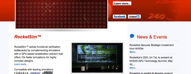 Rocketick home page on VC Cafe