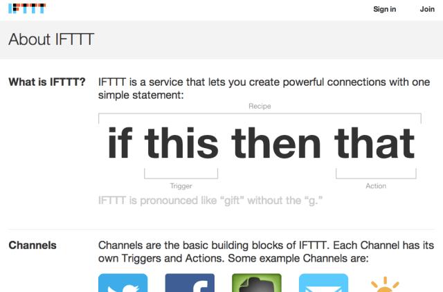 IFTTT homepage