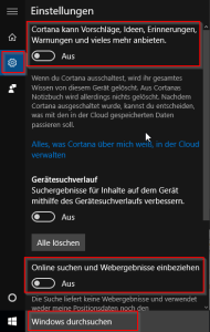 Cortana und Onlinesuche deaktivieren