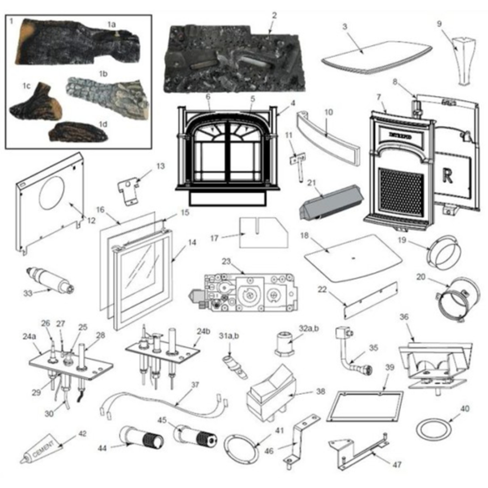 Intrepid II 1990 Vermont Castings Wood Burning Stove Parts