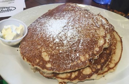 Chocolate chip, banana and peanut butter pancakes