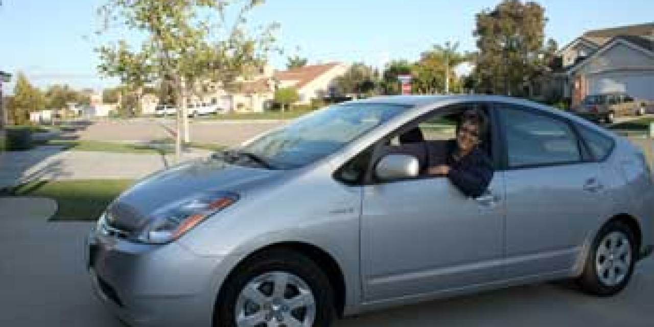 A woman and her Prius