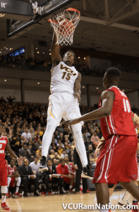 Juvonte converting on one of a number of dunks for the senior against ISU.