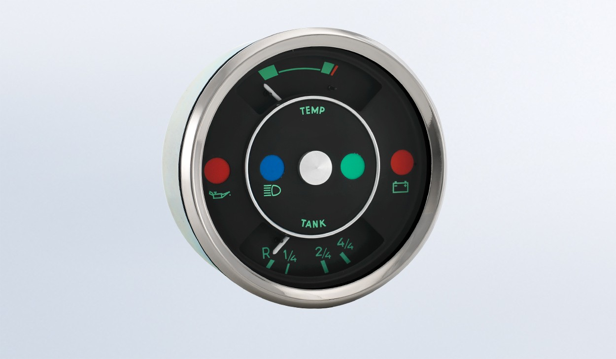 hight resolution of  356 100mm temperature fuel gague with warning lights multifunction by type