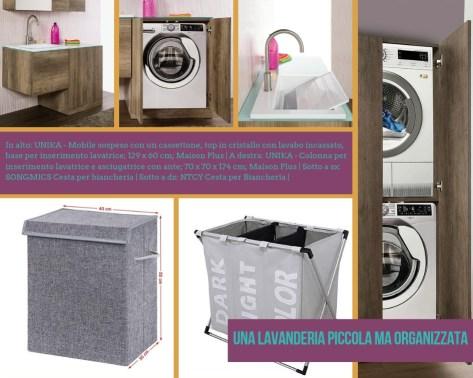Moodboard per mobili della lavanderia in una piccola stanza, con mobile coprilavatrice, colonna per lavatrice e cesti portabiancheria