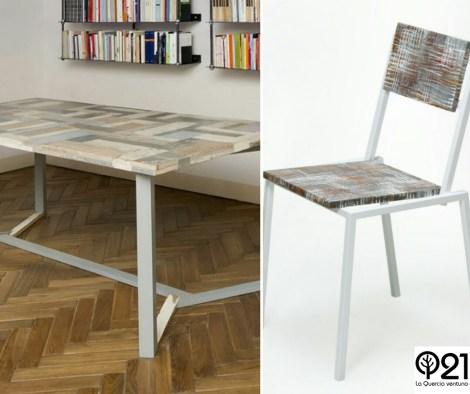 Tavolo luce ombra con struttura in ferro e piano in legno di recupero e sedia con struttura in ferro e piani in mdf e resina
