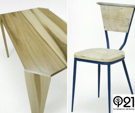 Tavolo Trapezio in legno massello e sedia con struttura in ferro verniciata blu e piani in legno di recupero