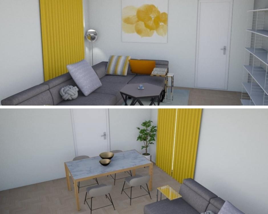 Viste prospettiche di un soggiorno rettangolare con divano ad L, parete libreria e tavolo da pranzo in marmo con accessori giallo senape.