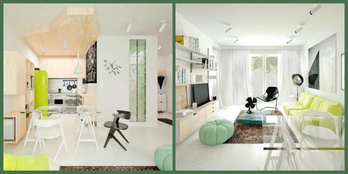 cucina e soggiorno in un unico ambiente in bianco, giallo fluo e verde