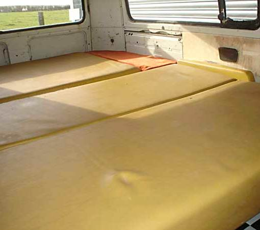 Original mustard yellow Westafalia interior (Rock & Roll bed folded flat)