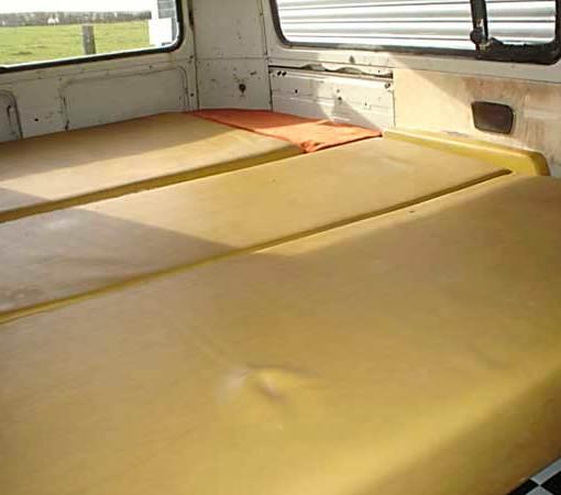 Original mustard yellow Westafalia interior (Rock & Roll bed folded flat)
