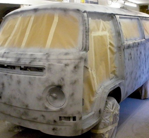 The outside gets a coat of grey primer as part of the guide coat process