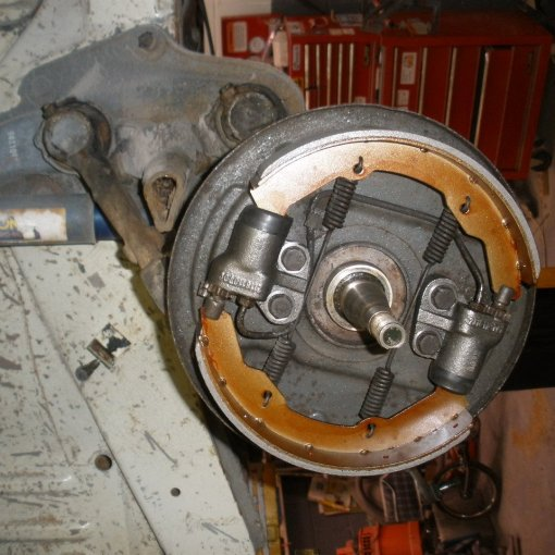 add a brand new set of brake shoes and reassemble to complete
