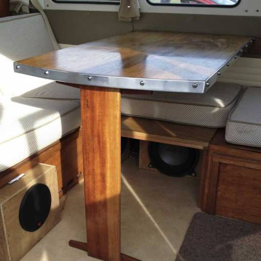 the Canterbury Pitt table finished and back home in the camper