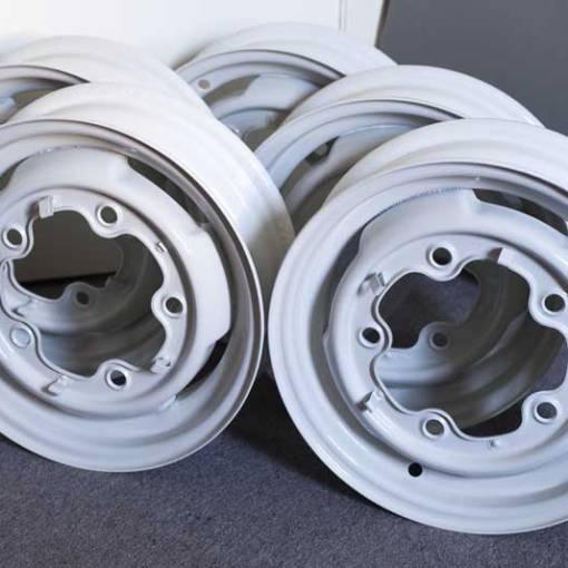 """the 15"""" steel rims back from the painters looking sharp in L82 Silver White"""