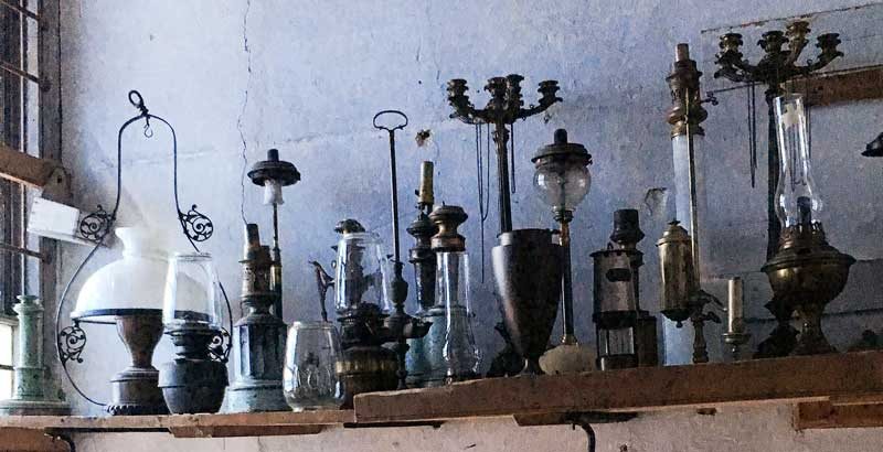 fantastic array of vintage oil lights