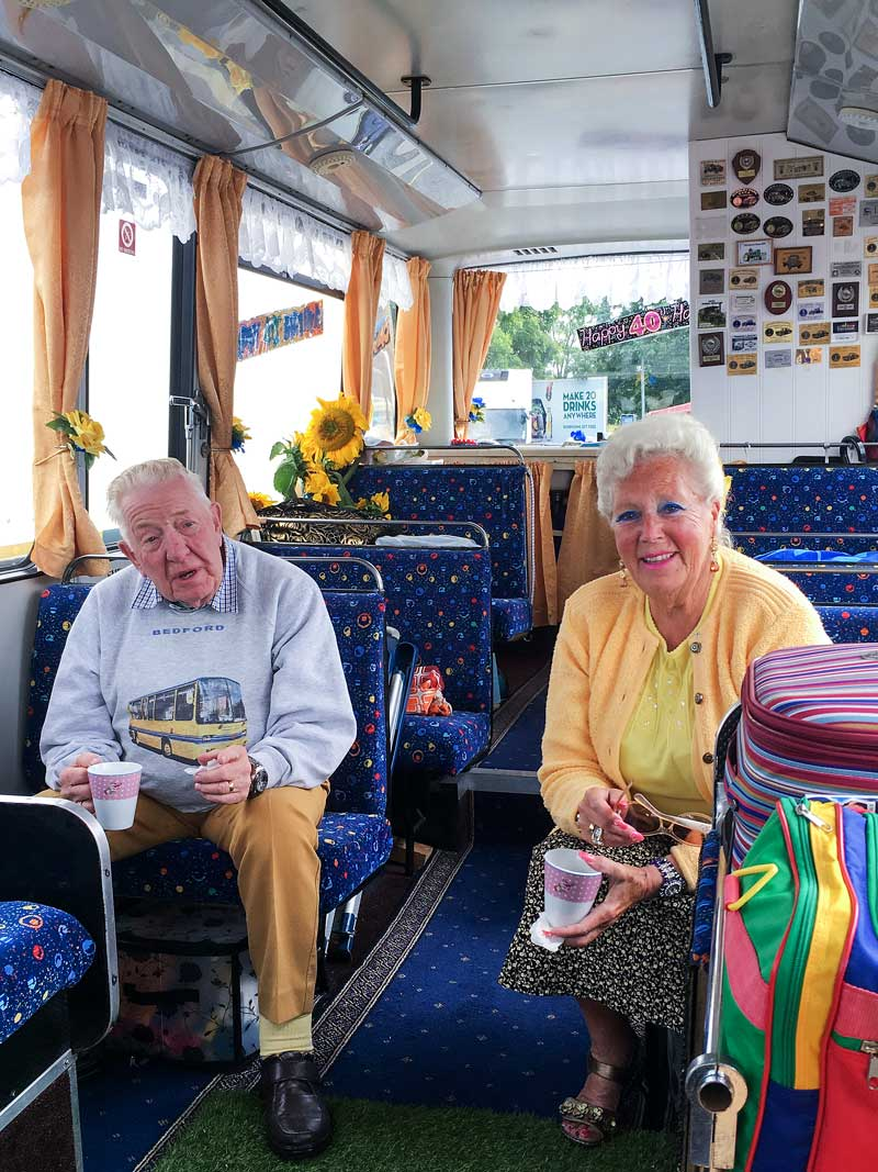 lovely couple showed us around their rare old bus