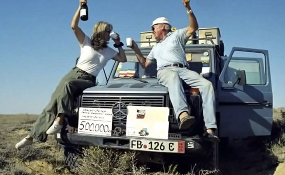 Gunther and Christine Holtorf and Otto their Mercedes G Wagen