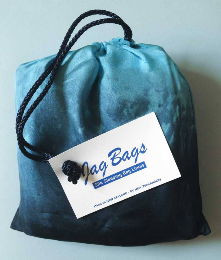 a Jag Bag silk sleeping bag liner from Terrevista Trails- an essential bit of travel kit