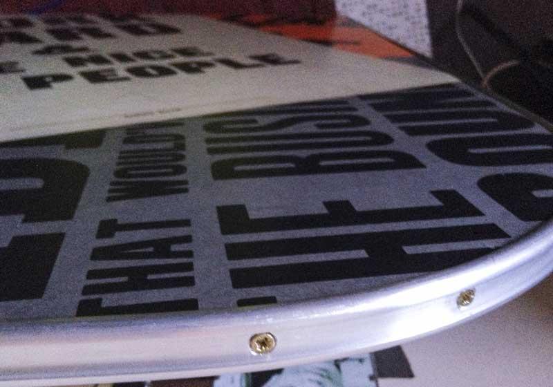 the Devon style aluminium edge trim screws to the table top edge