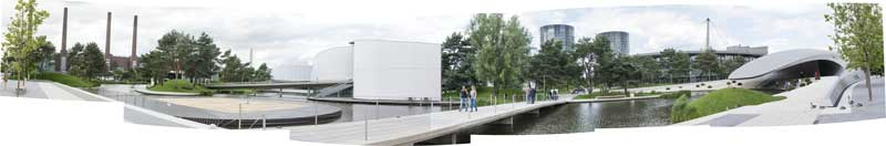 panorama of the Autostadt landscaping and Architecture