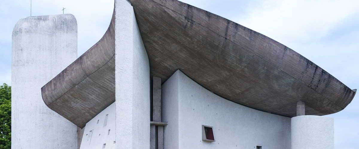 the stunning forms and facade of Le Corbusier's masterpiece of Architecture, La Ronchamp Chapel